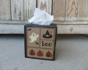 Primitive Hand Painted Halloween Ghost Jack O Lantern Witch Hat Sampler Tissue Box Cover GCC6391