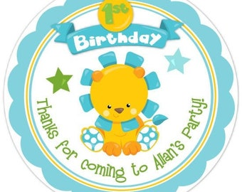 Custom First Birthday Labels, Baby Lion 1st Birthday Stickers, Birthday Decoration, Personalized Children Stickers
