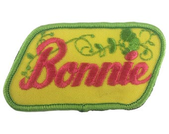 Vintage Name Patch - Bonnie - NEW OLD STOCK Bright Neon Groovy Retro