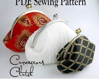 Curvaceous Clutch by Toriska, PDF sewing pattern, round frame clutch pattern, downloadable digital file, digital purse pattern, diy bag