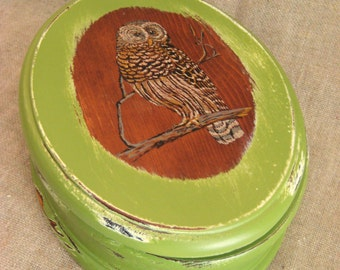 Painted Vintage Wood Box with OWL Keepsake or Trinket Box for Him or Her in Green SOLID WOOD Owl Box