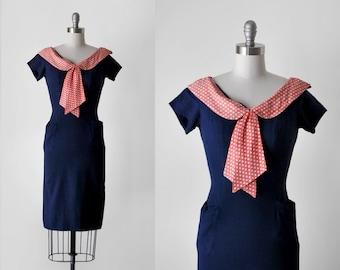 60 blue & red dress. s. 60's polka dot dress. bow. wiggle. navy blue. 1960's collared dress. xs.