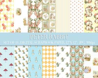 Peter Rabbit Digital Paper - peter rabbit scrapbook paper, digital scrapbook paper, peter rabbit prints, peter rabbit nursery,beatrix potter