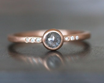 Blue Gray Diamond Ring -14K Rose Gold Band - 4mm Rose Cut Diamond with Accent Diamonds - READY To SHIP (Size 7 / Resize) - Free US Shipping