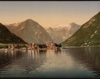 Balholm (i.e., Balestrand) from the fjord, Sognefjord, Norway] 1890. Vintage photo postcard reprint 8x10-up. Norway Sognefjord