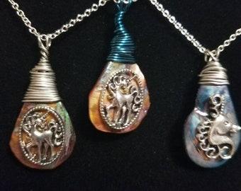 Unicorn on abalone necklace