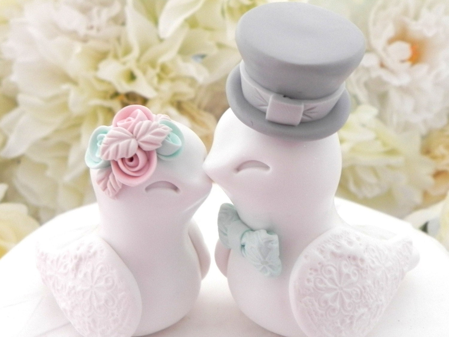 Love Birds Wedding Cake Topper White Dusty Pink Mint and