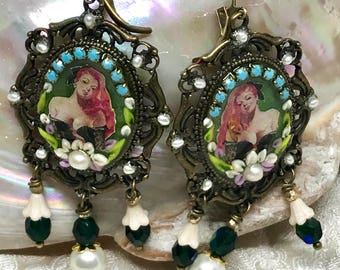 Lilygrace Green Pin Up Girl Cameo Earrings with Vintage Rhinestones, Glass Flower Beads and Freshwater Pearls