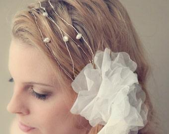 Romantic Flower Keshi Pearl Hair Wrap