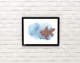 Goldfish III. Original Collage. Watercolour. A4