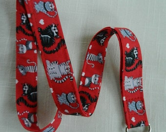 Gray and Black cats on red ~ Fabric Neck Lanyard, ID Name Badge Holder, Key and Camera Holder