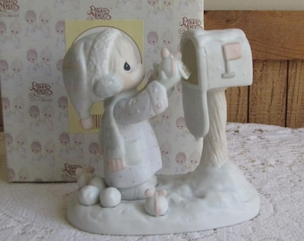 Precious Moments I'm Sending You a White Christmas Figurine Heart 1996 Symbol Retired Jonathan and David
