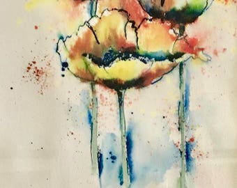 Abstract Poppies,Original Watercolor Painting Poppy Flowers, Modern Office Decor, Bedroom Decor, Nursery Decor, Abstract Art, Floral Art