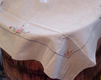 Vintage Floral Tablecloth, Linen Cross Stitched Embroidered Cottage Chic Country Farmhouse Table Topper itsyourcountry