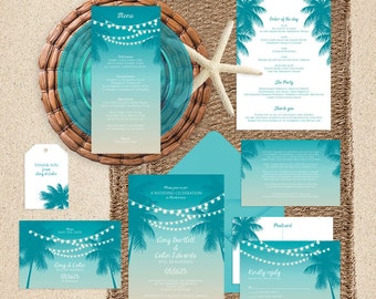 printable wedding invitation suite tropical nights - modern beach themed palm tree string of lights invite, reception or ceremony sets dusk