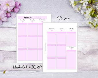 A5   Printed   Planner   Insert   WO2P   Week on 2 pages   Pink   13 Weeks   Filofax   Kikkik