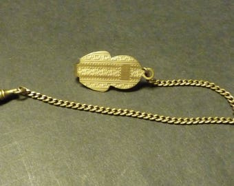 Watch Fob -Engravable charm end - gold metal chain and Belt Loop