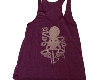 Octopus on a bicycle - Womens Tank top, Ladies Tank top, Tri Blend Tank, Handmade graphic tee, sizes s-xL