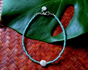 Sea & Sun anklet - Turquoise beaded anklet with sun bead