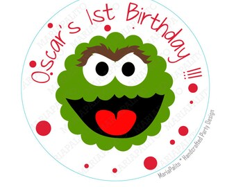 Oscar stickers, Oscar the grouch  Party Personalized Inspired PRINTED round Stickers, tags, Labels or Envelope Seals  A937