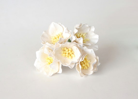 25 pcs white poppy paper flowers wholesale pack mightylinksfo