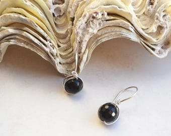 Black Onyx Sterling Silver Wirework Stone Earrings