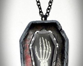 Gothic Black Red Skeleton Hand Coffin Necklace