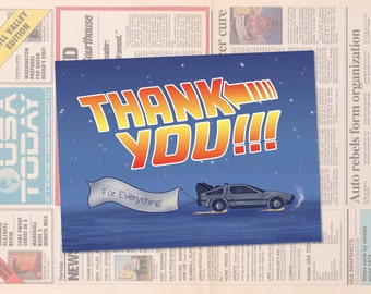 Back to the Future Thank You Card Template // Instant Download // Geeky Thank You Card