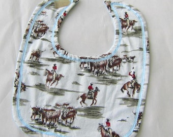 COWBOYS HORSES Natural Color Cotton Fabric Oversize Baby Bib w/Hook & Loop Closure