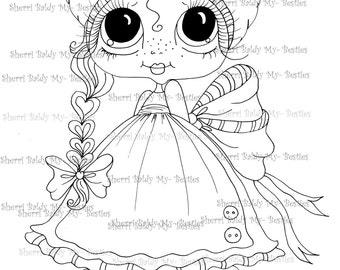 INSTANT DOWNLOAD Digi Stamps Big Eye Big Head Dolls Digi Bestie IMG952 By Sherri Baldy