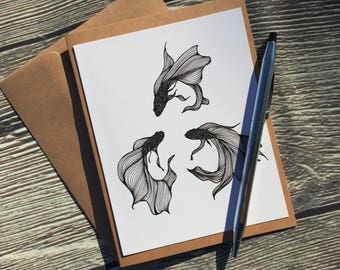 Betta Triquetra Original Ink Drawing Print - Kraft Note Card