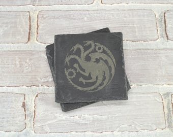 Game of Thrones - Slate Coasters - Pick Any House - Mix and Match - Set of 4 - Mother of Dragons - House Stark - Game of Thrones Gift