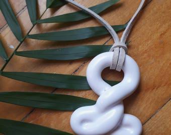 ceramic twist coil white glaze pendant beige cord necklace