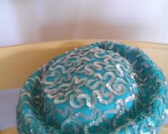 Vintage turquoise blue sequin ladies hat woman's accessory