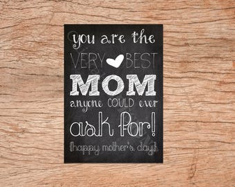 Very Best Mom Mother's Day Card