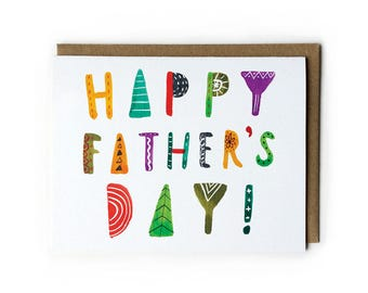Father's Day Cards, Watercolor Greeting Card, Father's Day Gift, Cute Father's Day Card, Hand Letter Text, Folded Notecard, A2, 4.25x5.5