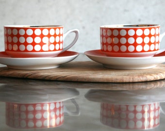 Vintage Orange Red Polka dot coffee/ tea cups with saucers. Retro kitchen decor from 1970s.