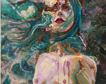 "25""x25"" Womans Face, Figurative Surreal Oil Painting. Original Painting. Large Painting, Abstract, Fine Art, Wall Hanging, Blue Painting"