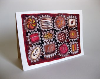 Valentine's Day Chocolates Card - Handmade and printed from original ink and gouache illustration