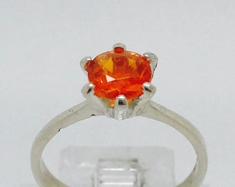 Natural 1.4ct Mexican Fire Opal Ring on Genuine Sterling Silver.