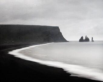 Iceland Art, Black Beach in Vik, Iceland Landscape Photography, Black and White Photography Print,Minimalist Scandinavian Art - Ash and Lava