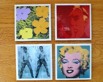 Andy Warhol  Art Tile Drink Coasters 4 Piece Set featuring Elvis, Marylyn, Andy and Warhol Flowers