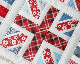 Union Jack Patchwork Block and Table Runner Pattern