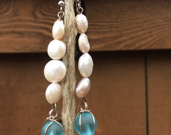 Seaglass and Shell Earrings, Mermaid Inspired, Ocean Inspired Earrings, Beach Inspired Earrings