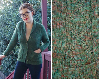 HEATHERED 1960's 70's Vintage Dark Green + Red Mohair Knit Cardigan Sweater // size Small Medium // COZY