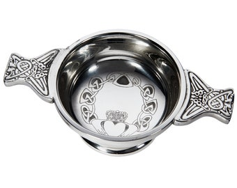 Engraved Irish Claddagh 7cm Pewter Quaich Bowl Customised Personalised Message