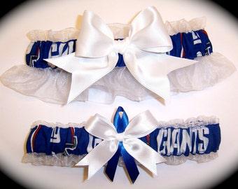 New York Giants Wedding Garter Set   Handmade  NY   Keepsake and Toss Bridal wro1