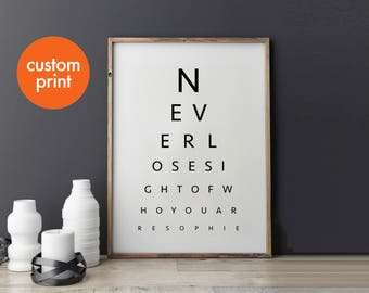 Personalised eye test chart monochrome print // never lose sight of who you are // Scandinavian inspired home decor print // framed gift