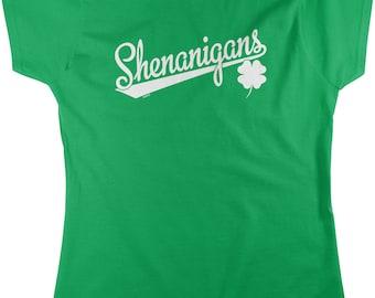 Shenanigans, Irish Clover, St Patricks Day Women's T-shirt, NOFO_00949