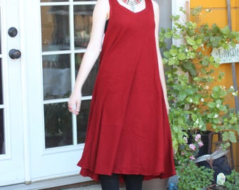 Tienda Ho Cherry Red Hand-woven Zora Cotton-Rayon Dress from Morocco